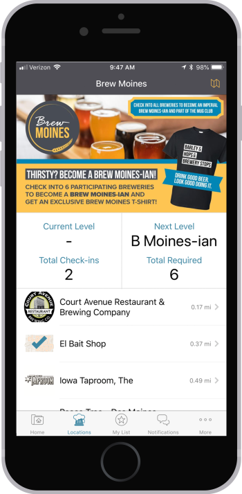 Brew Moines app locations