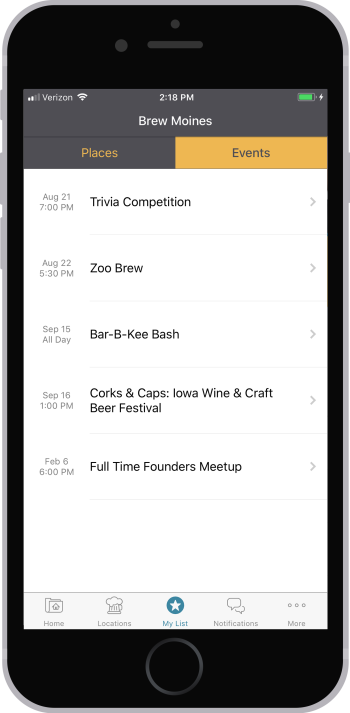 Brew Moines app my list