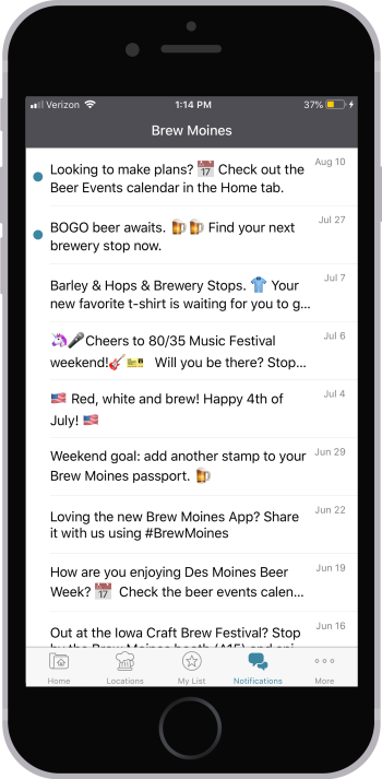 Brew Moines app push notifications