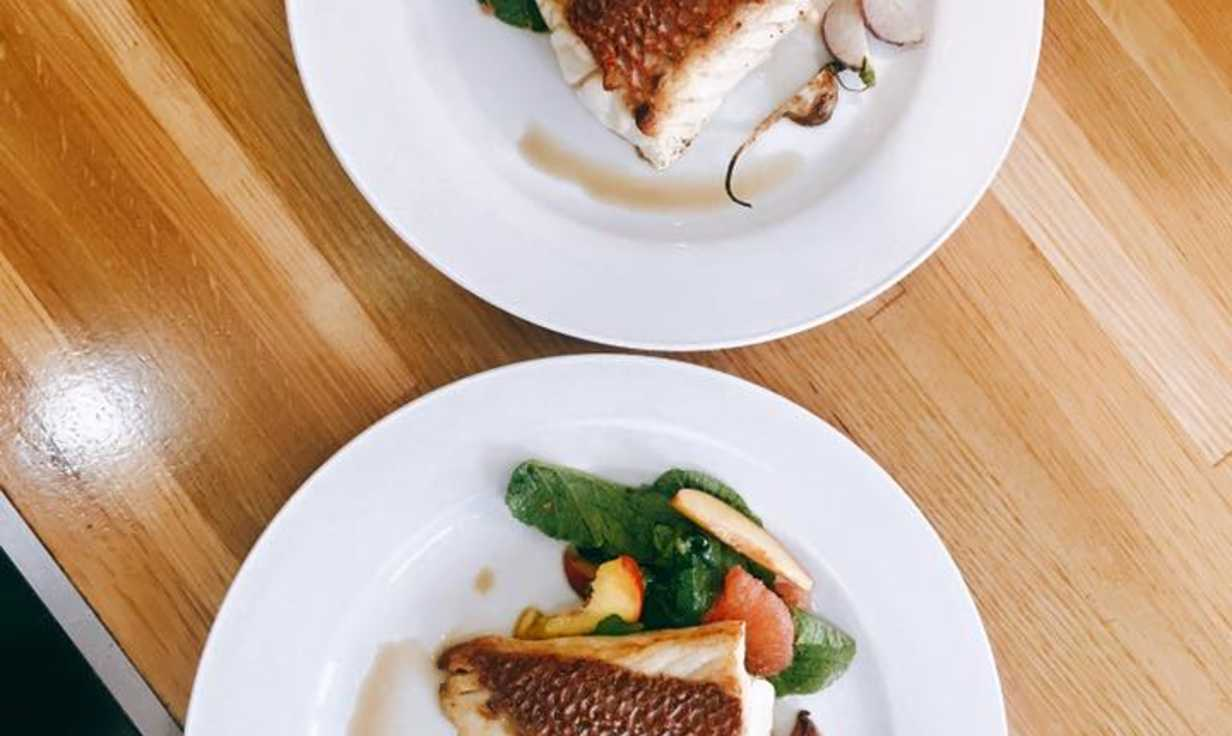 Red Snapper with peach and radish salad