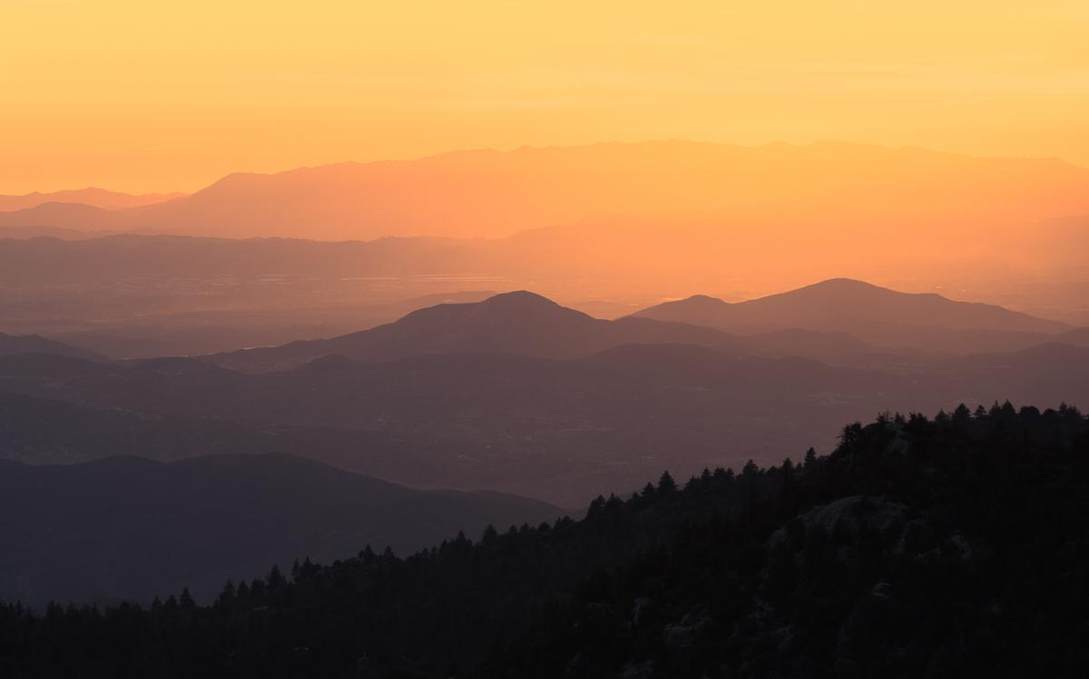 Sunset on the mountains from the Devil's Slide Trail in Idyllwild, California