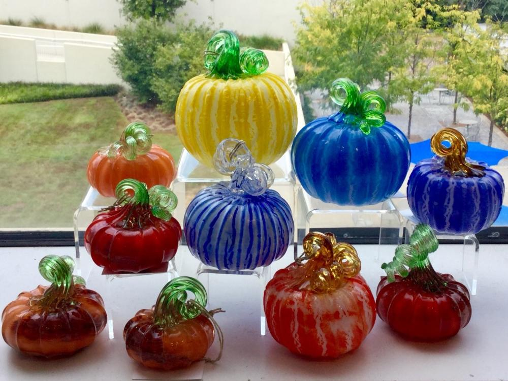 Hand-blown pumpkins by Knoxville artist Johnny Glass