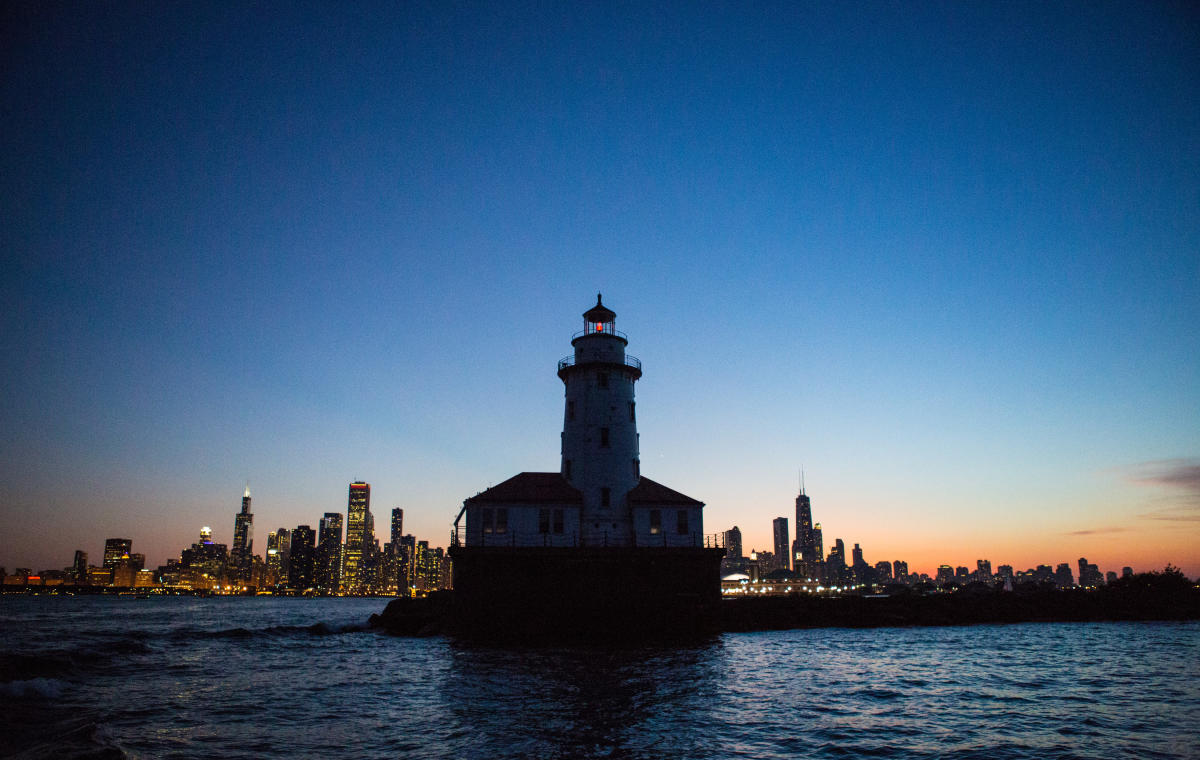Chicago Harbor Lighthouse in Lake Michigan