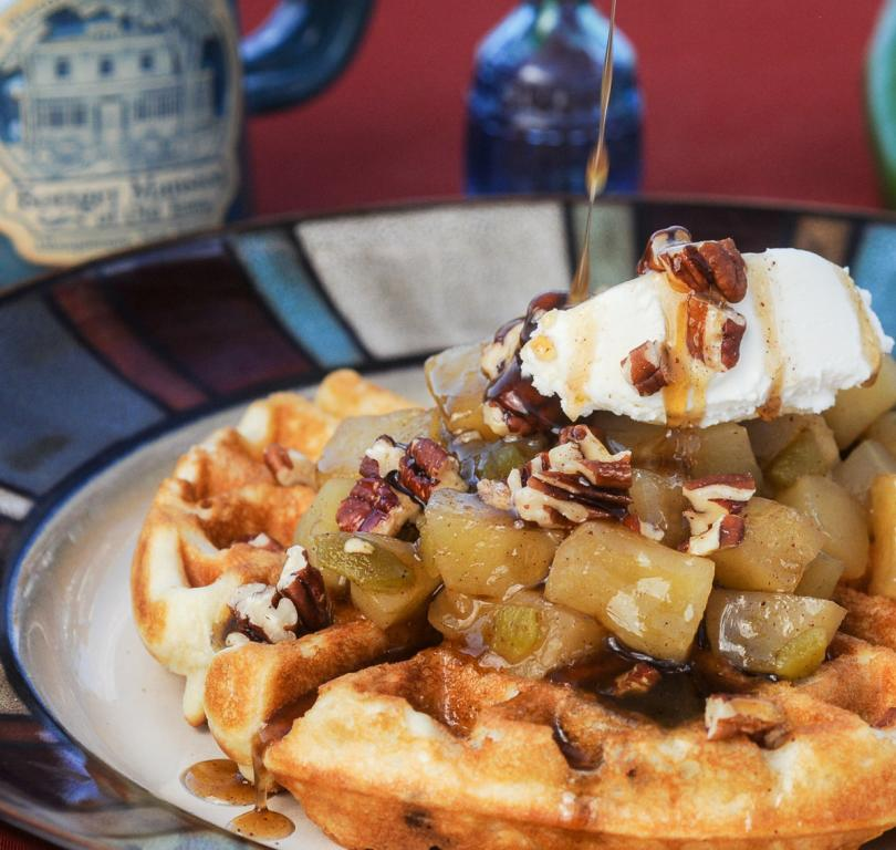 Waffles with apple green chile compote