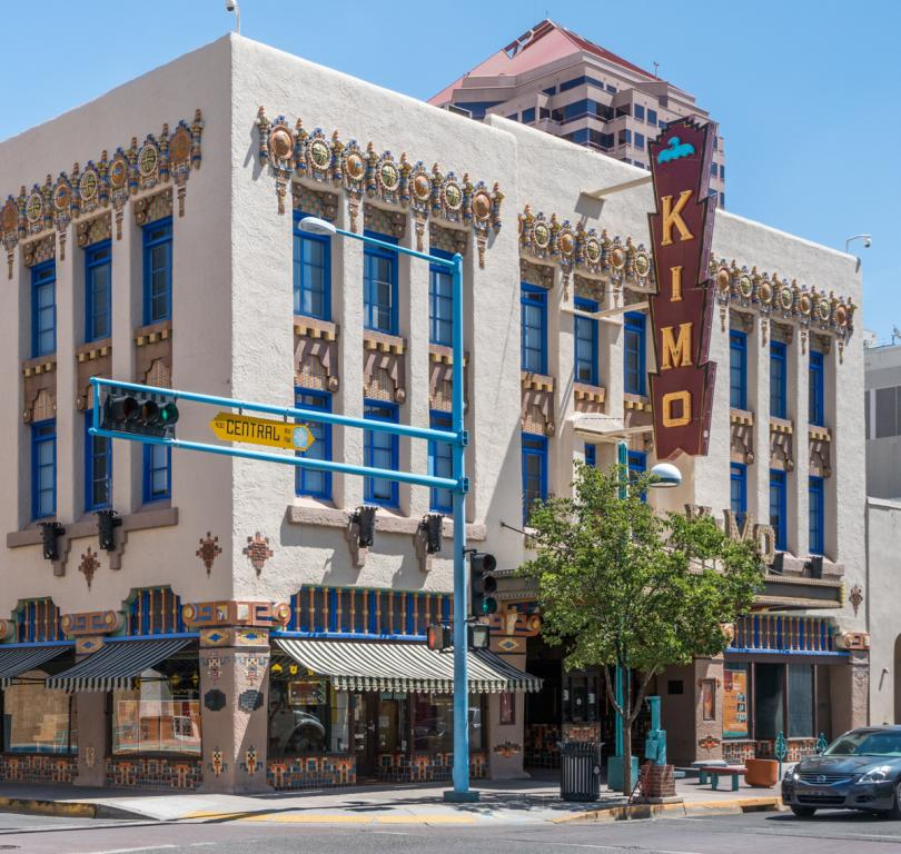 The unique KIMO Theater built in 1927 in the Pueblo Revival/Art Deco style