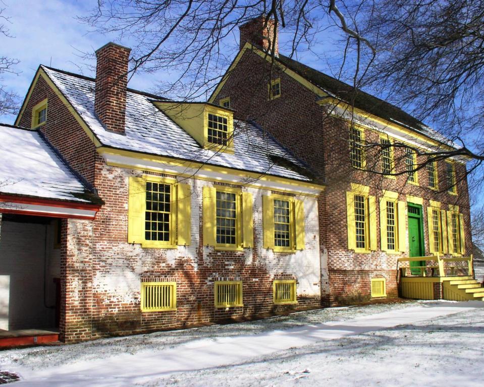 John Dickinson Mansion in the snow