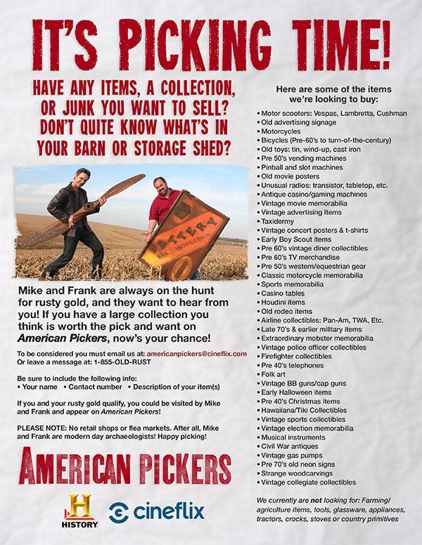 American Pickers informational flyer