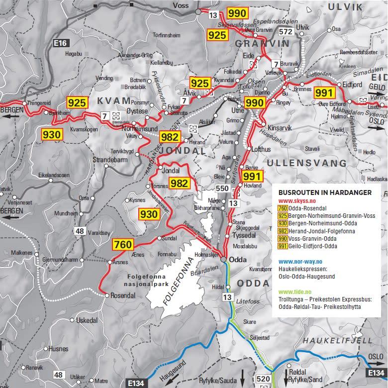 Busverbindungen in der Region Hardangerfjord