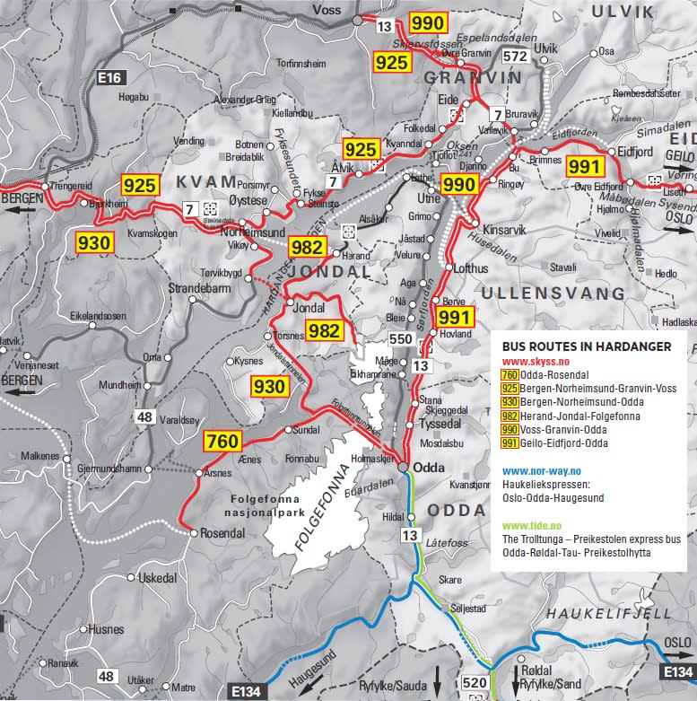 Bus routes in the Hardangerfjord region
