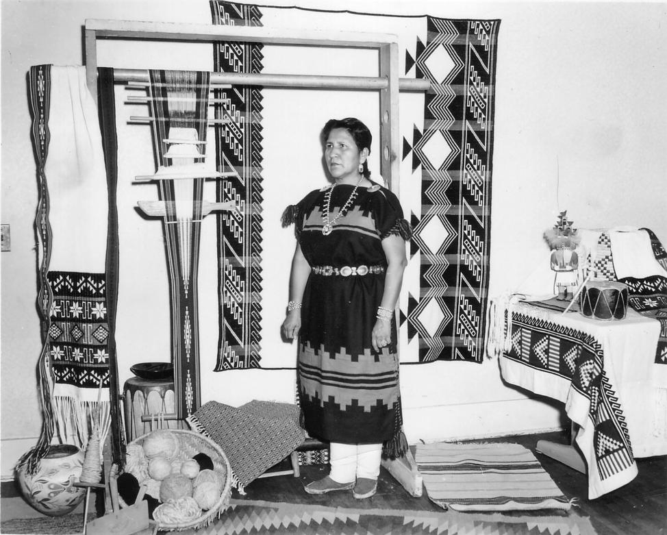 Katherine Mescal (Navajo) of the Tewa Weavers Shop; weaving instructor