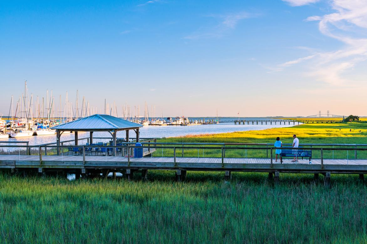Dock and boats at the Morning Star Marina in St. Simons Island
