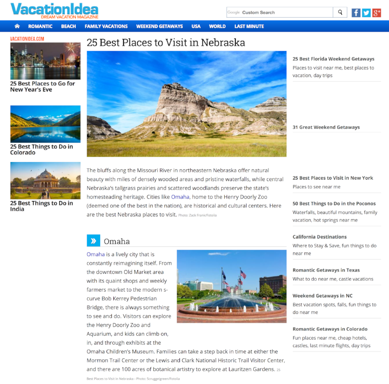 VacationIdea.com - 25 Best Places to Visit in Nebraska