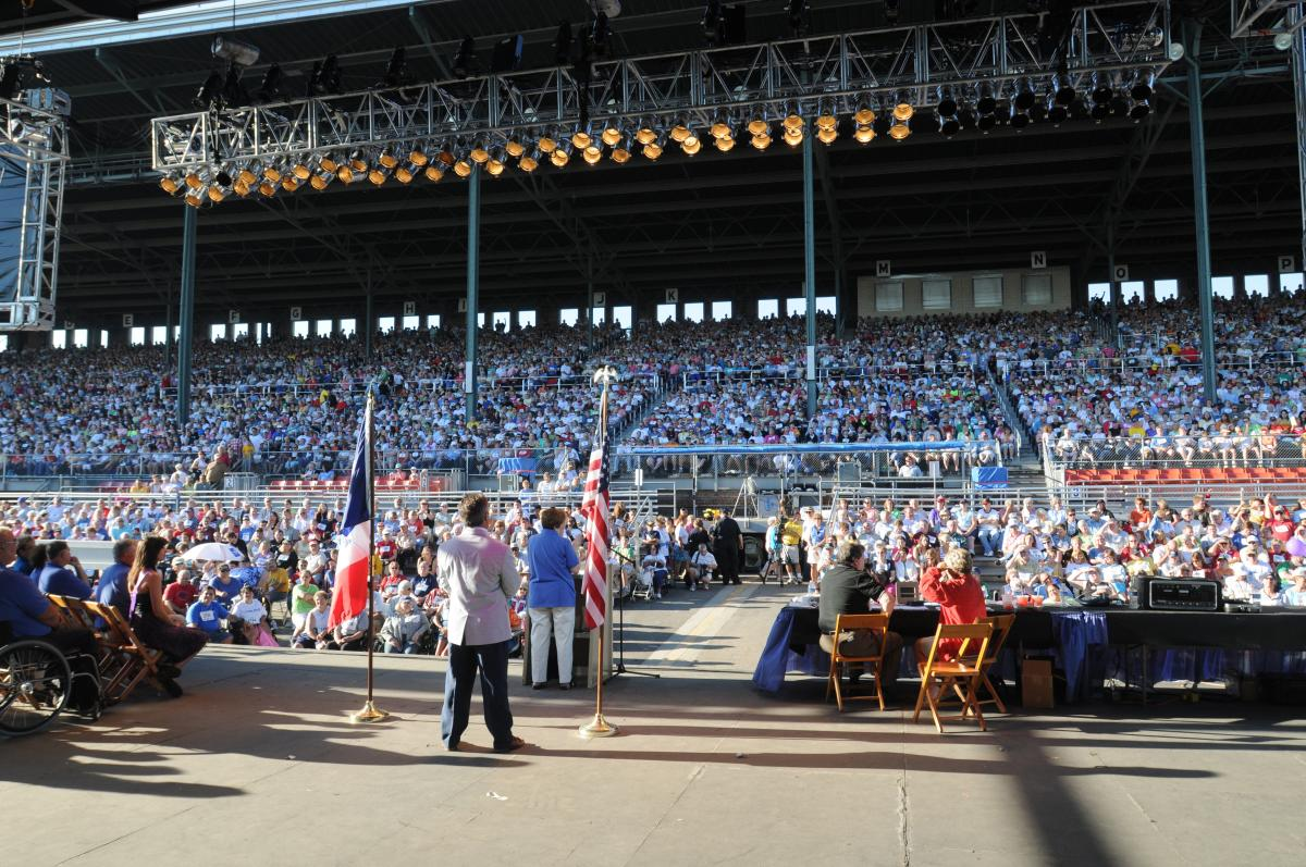 Iowa Lt. Governor Patty Judge addresses the Grandstand full of people during the opening ceremonies of the 2008 Iowa State Fair Thursday, Aug. 7. (Iowa State Fair Photo)