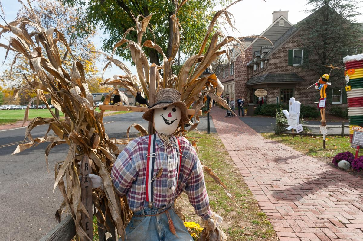 A scarecrow worthy of a gold medal is on display at the annual Scarecrow Festival at Peddler's Village. The outdoor shopping village hosts a multitude of fairs and festivals all year.