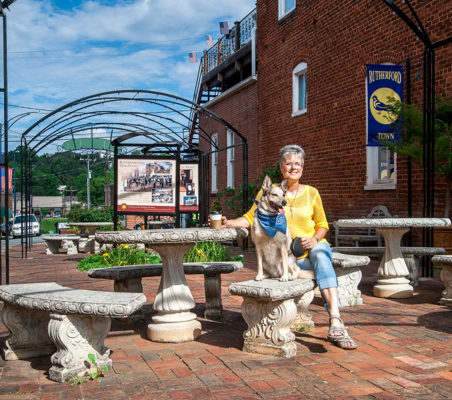 Dog in Main Street Park, downtown Rutherfordton
