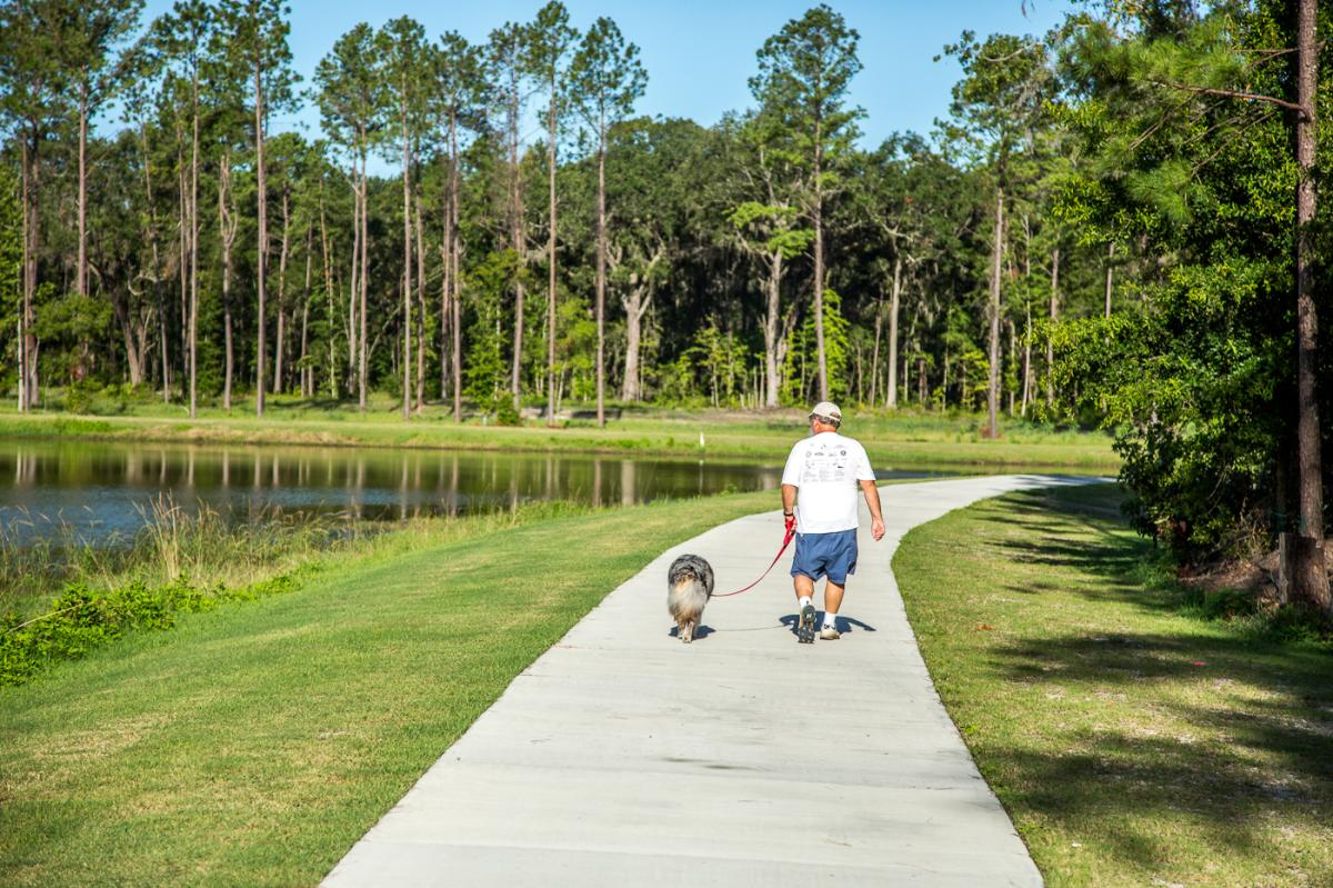 Paved pathways around the North Glynn Recreation Complex are perfect for walking, jogging and bike riding in Brunswick, Georgia