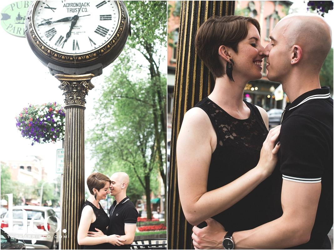 Collage of couple posing by clock on Broadway in Saratoga Springs