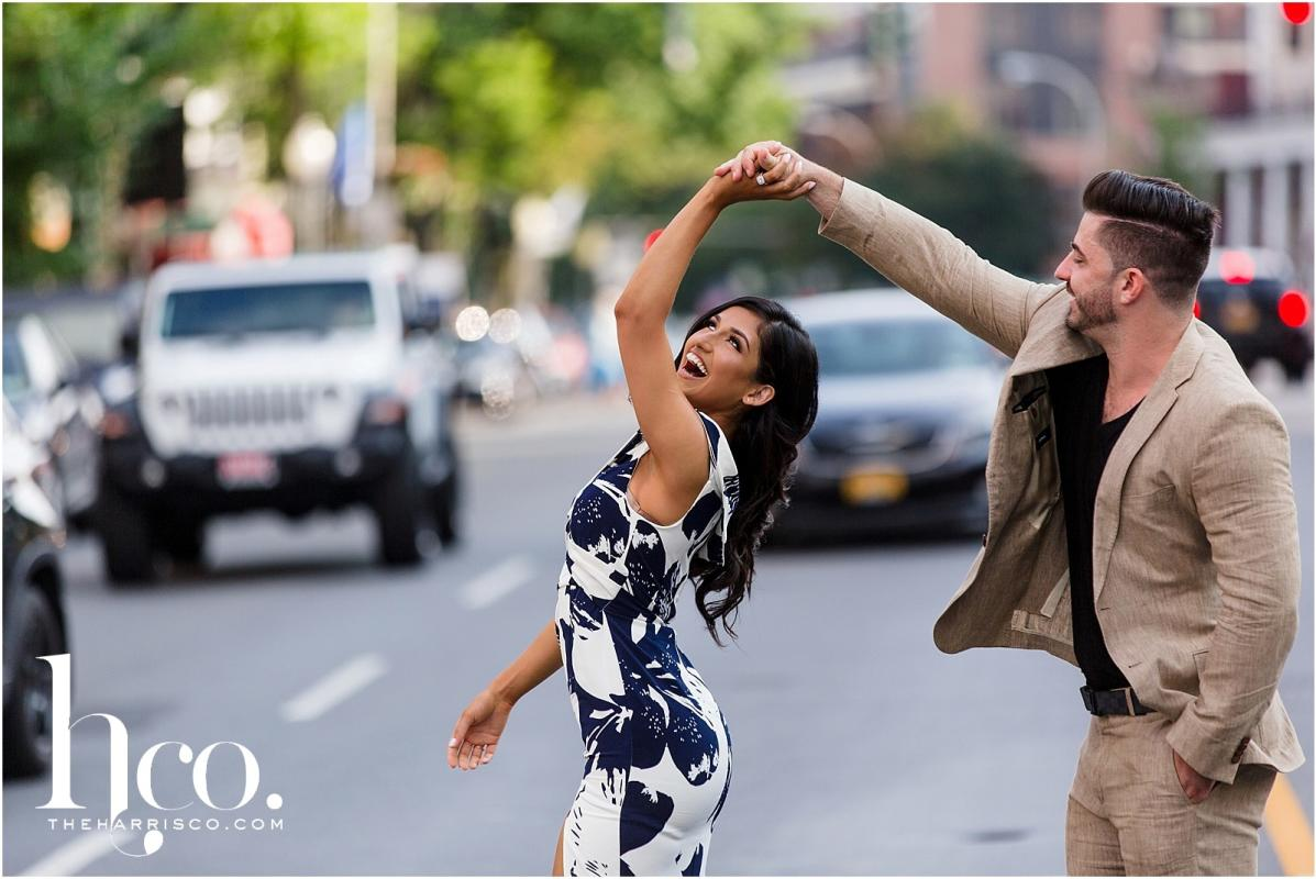Picture of couple dancing on Broadway in Saratoga Springs NY