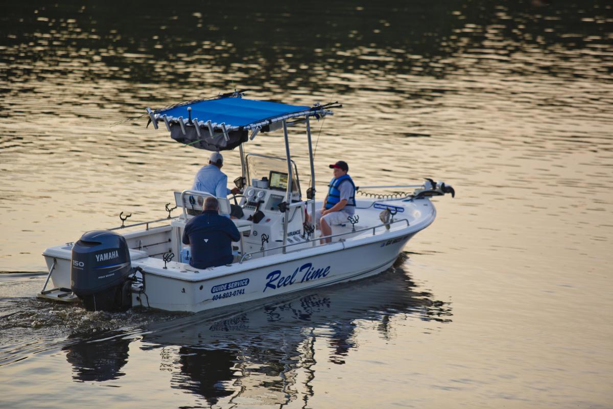 Fishing boat on lake
