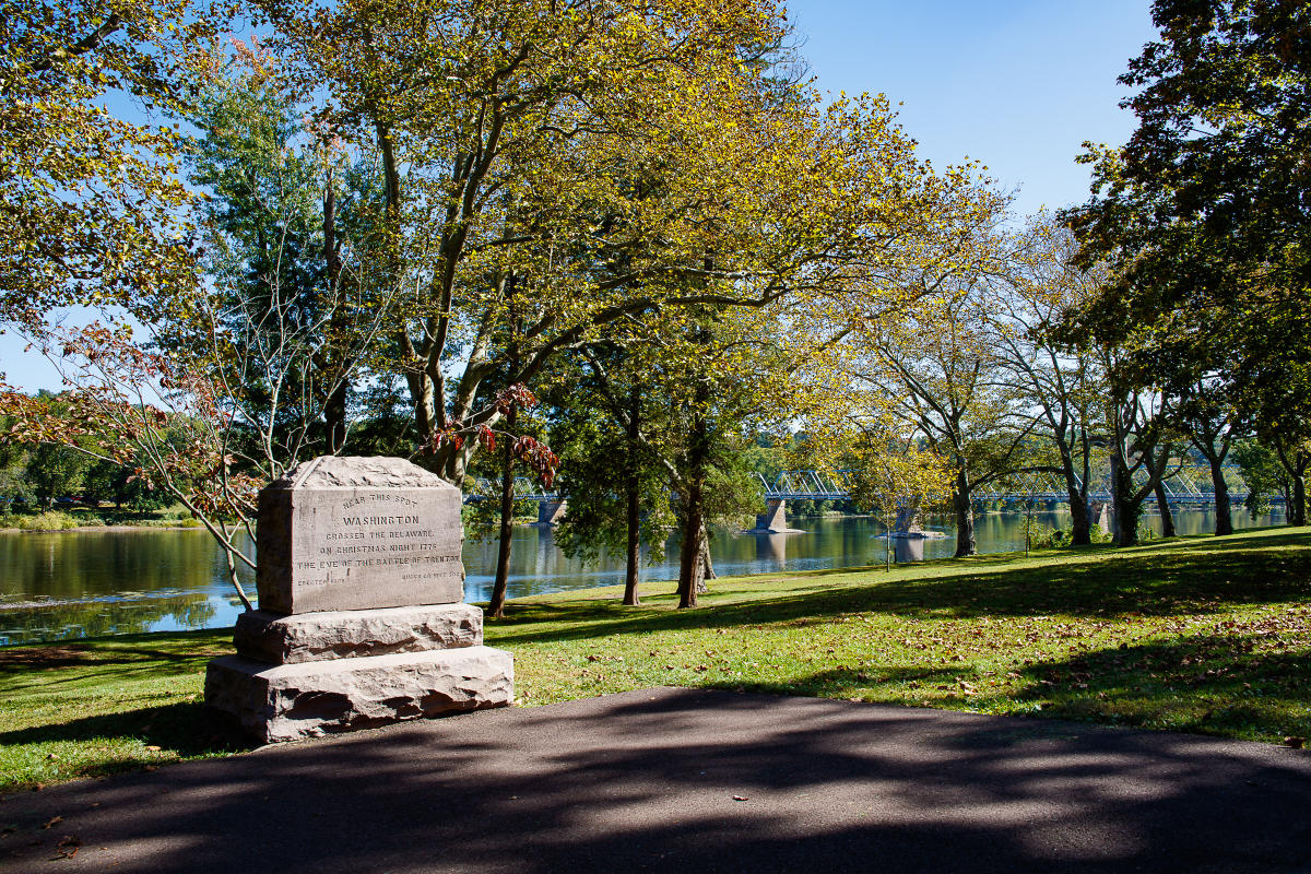 The 500-acre park is the site where General George Washington and his Continental Army crossed the Delaware River on Christmas night in 1776 and marched to Trenton, New Jersey.