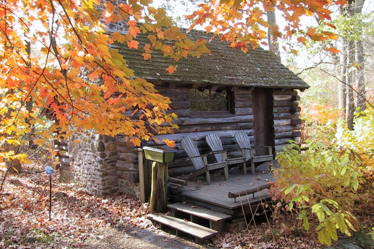 Morris Arboretum Log Cabin in Fall