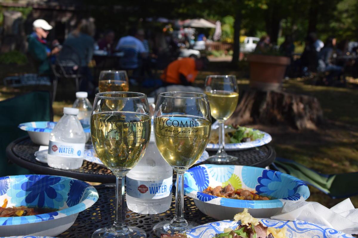White wine at Wycombe Vineyards