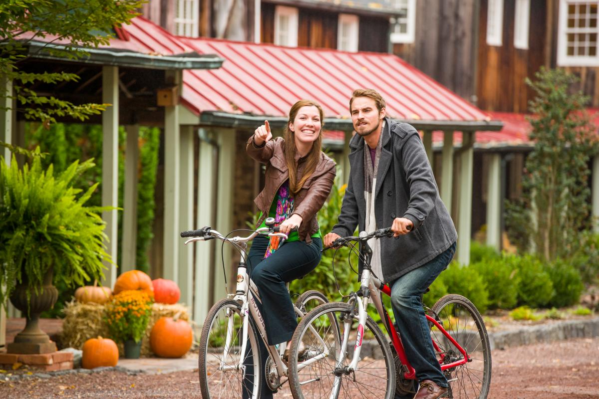 Guests at the 1740 House in Lumberville can enjoy a bike ride through the quaint town or along the Delaware River.