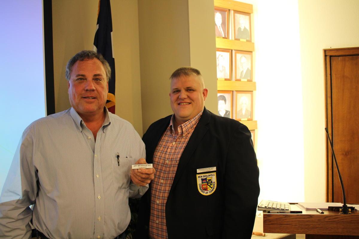 Art Brinkkoeter earns his Chamber Life Membership.