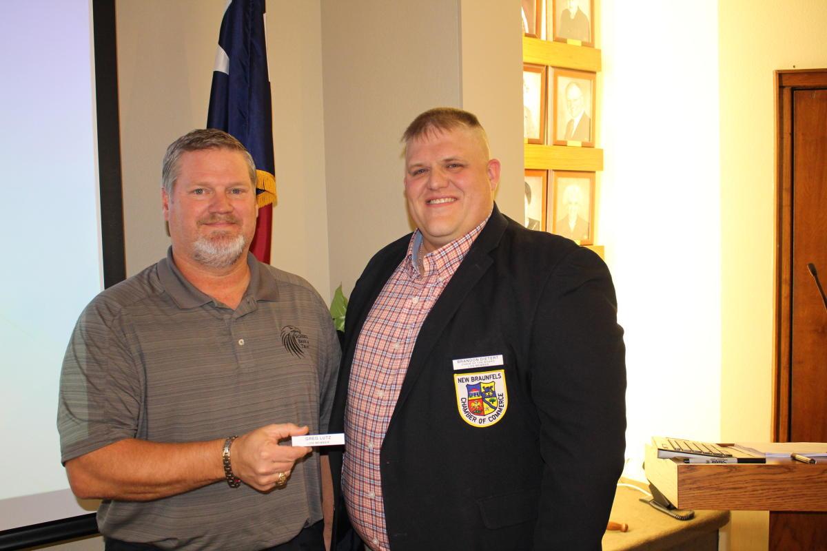 Greg Lutz earns his Chamber Life Membership