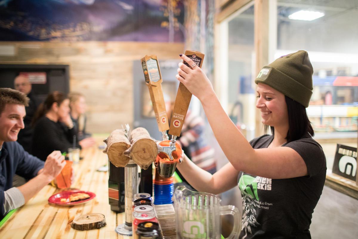 Serving craft beer at Meier Skis in Denver.