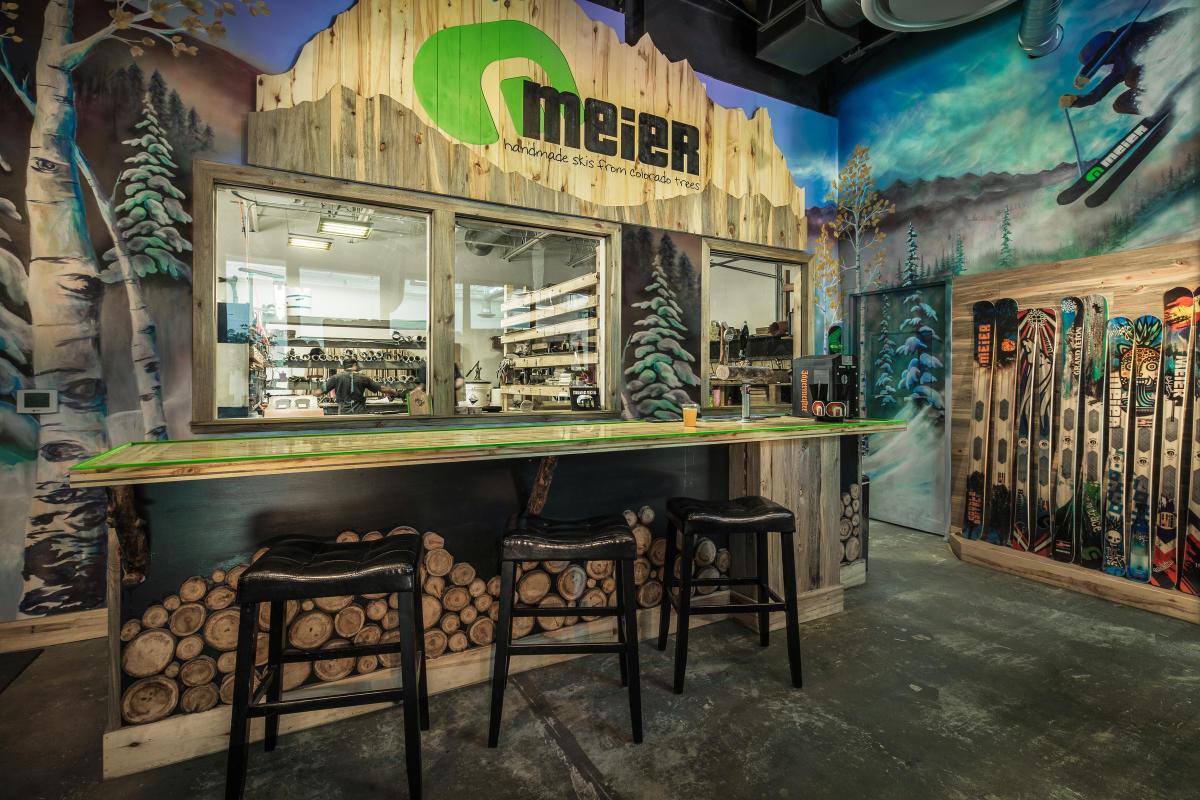 The bar at Meier Skis in Denver.