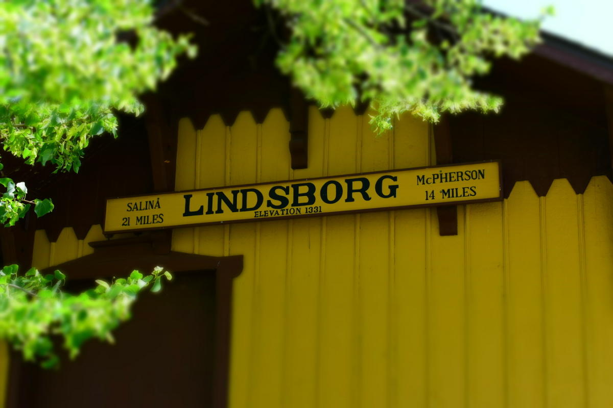 Lindsborg Building Sign Old Mill Train Depot in Heritage Square