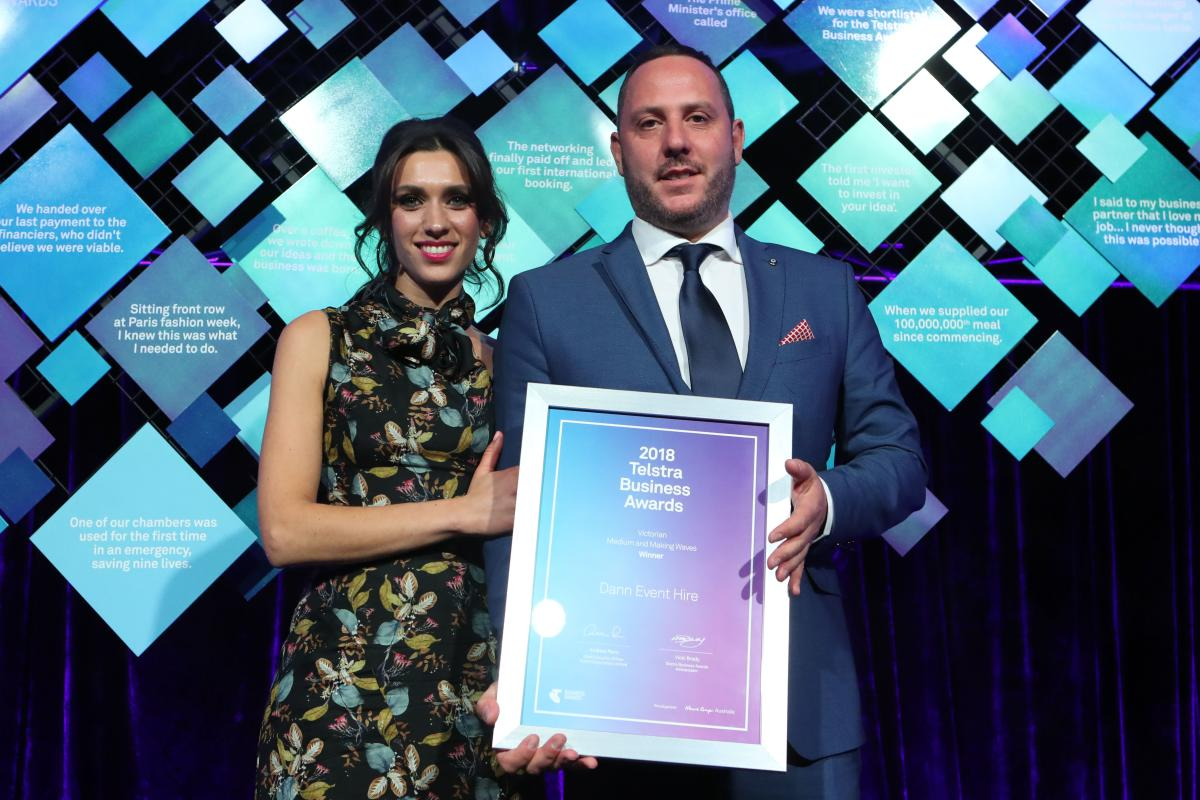 Dann Event Hire was named the Telstra Victorian Business of the Year 2018