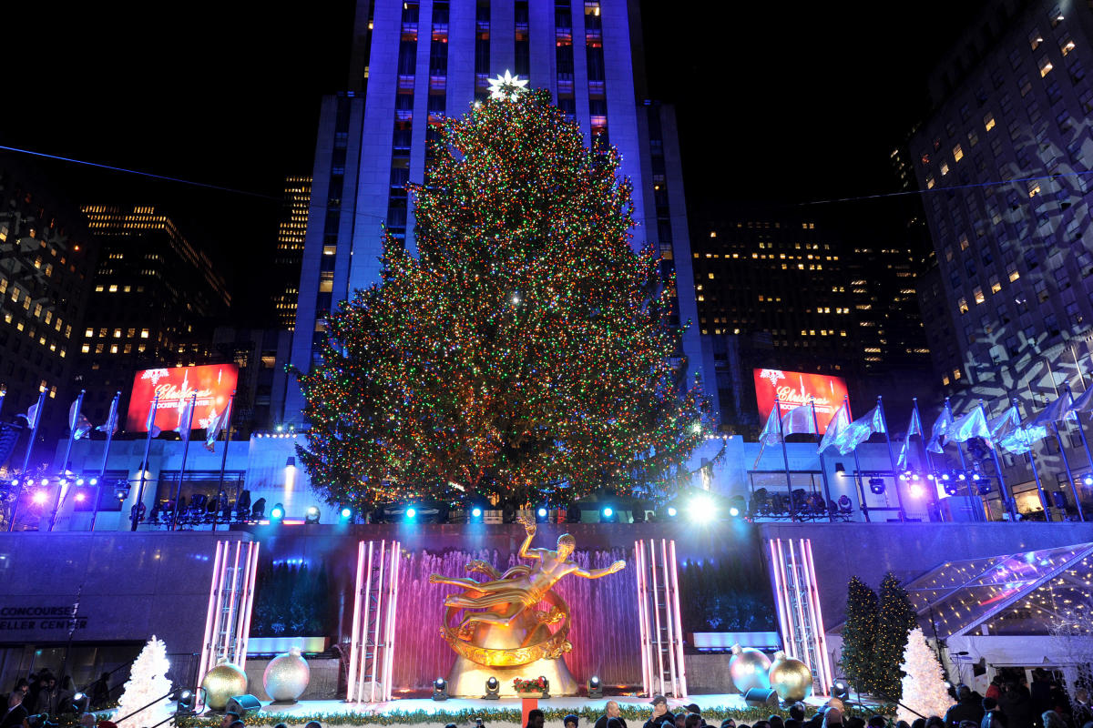 Rockefeller center, christmas tree lighting, night