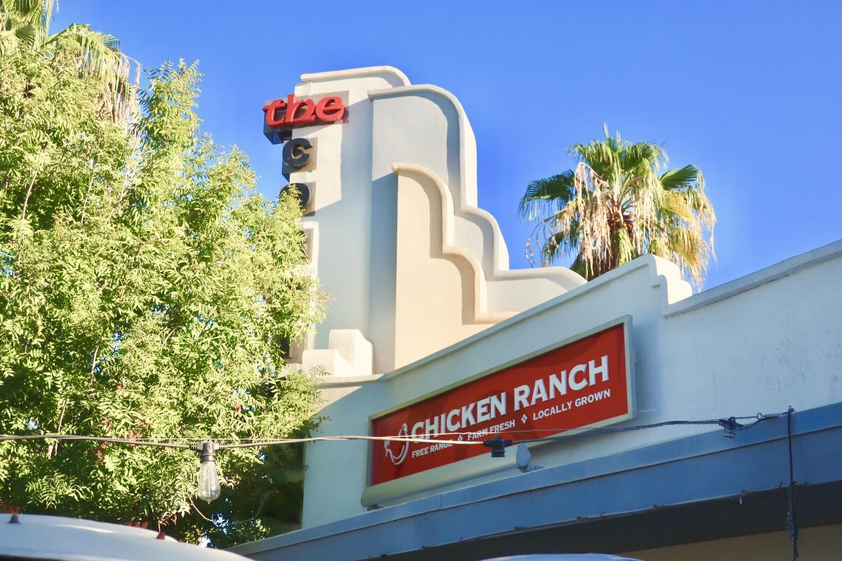 Red Chicken Ranch sign hanging on top of the restaurant.