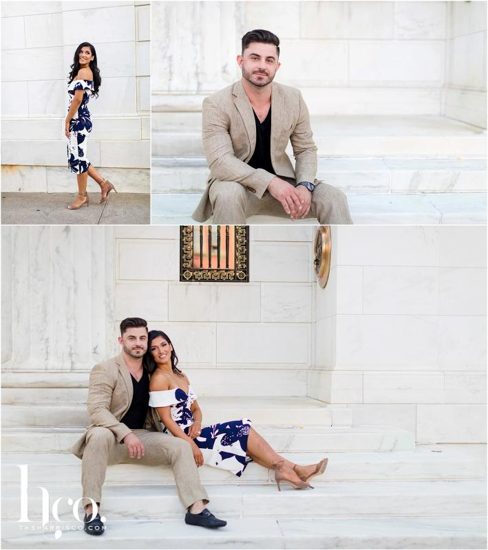 Collage of couple posing at Adirondack Trust Bank in Saratoga Springs