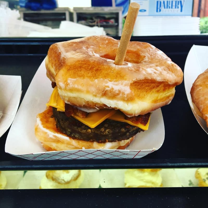 goetta sandwich with cheese and donuts instead of bread