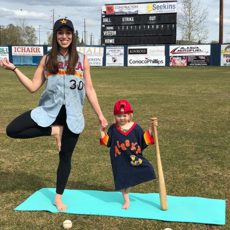 Yoga in the Outfield Alaska Goldpanners Fairbanks Solstice