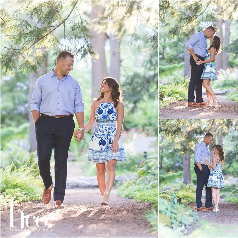 Collage of couple's engagement photos at Yaddo Gardens in Saratoga