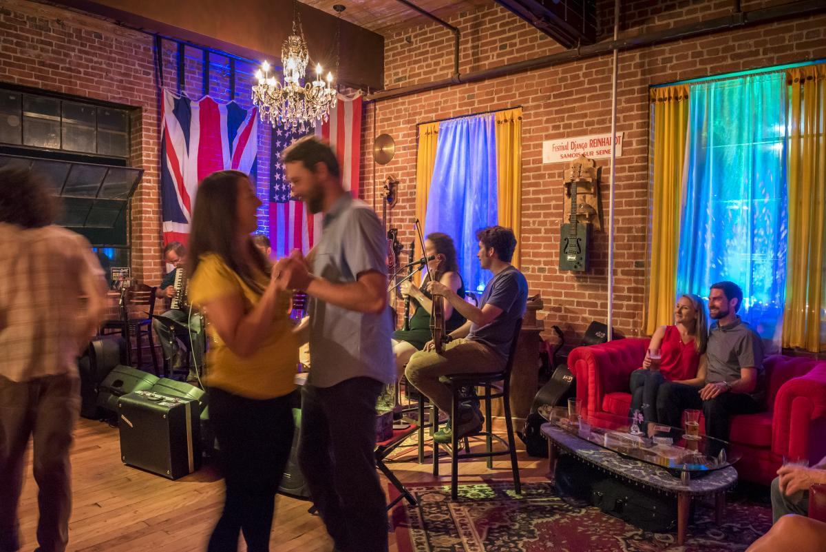 Dancing at Asheville Guitar Bar