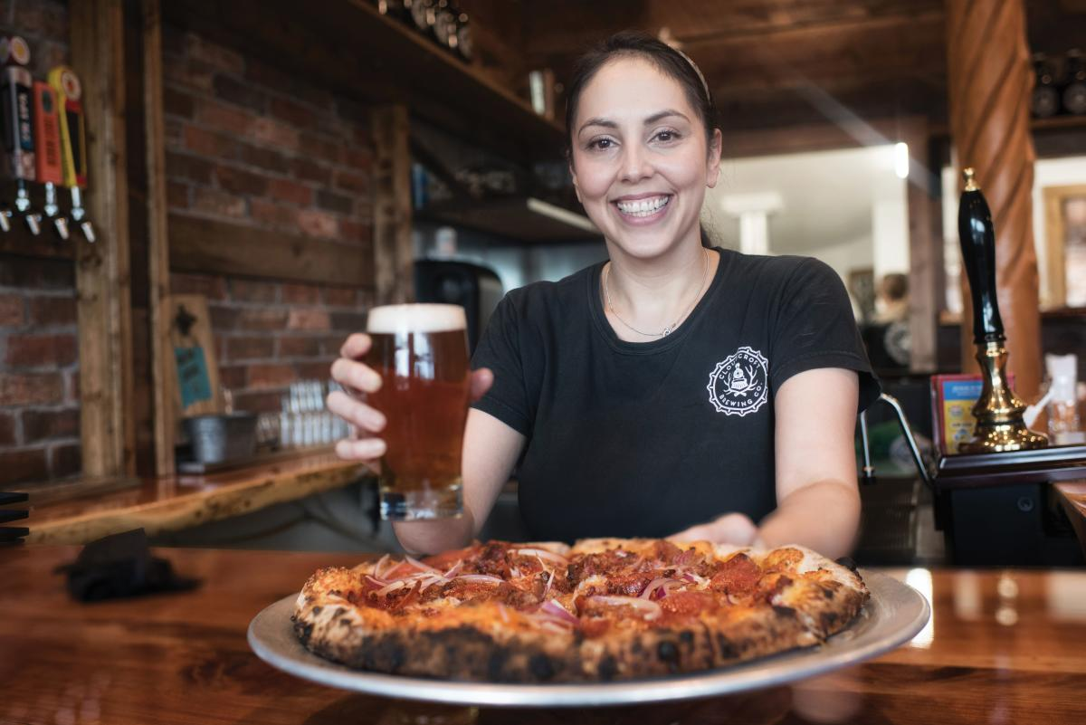 Pizza and beer at Cloudcroft Brewing