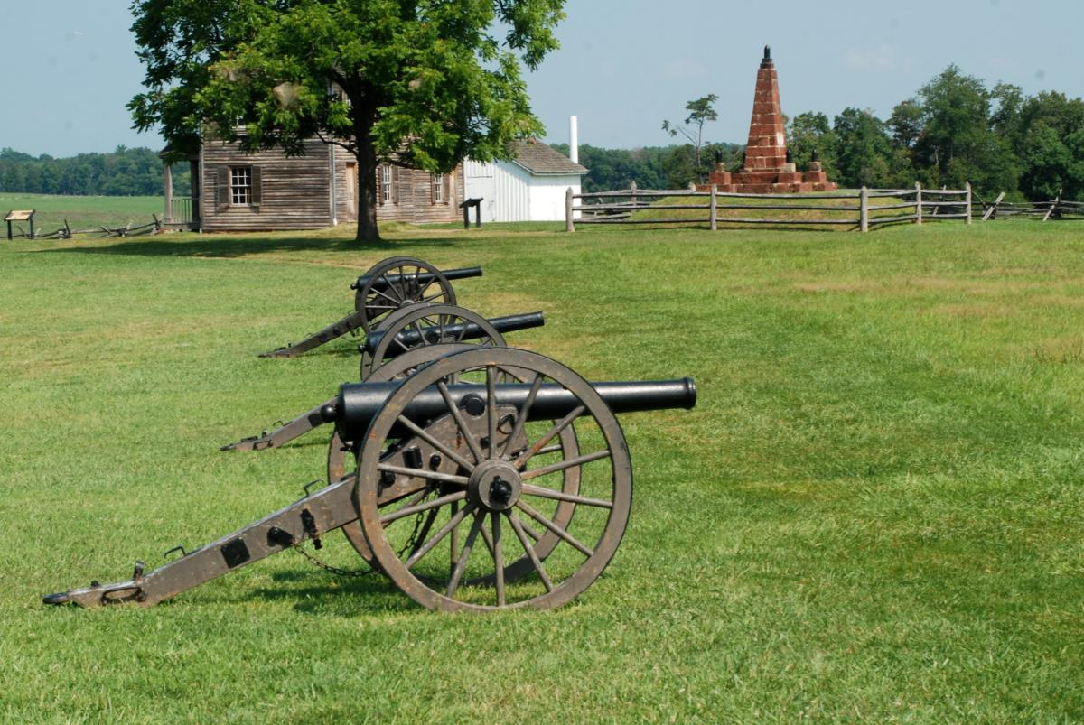 Manassas Battlefield Henry Hill House and Cannons