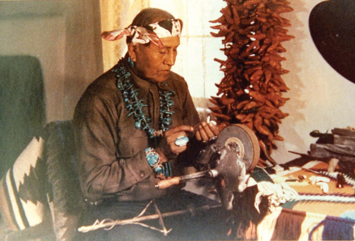 Leekya Deyuse, known simply as Leekya working in his studio in the mid-20th century
