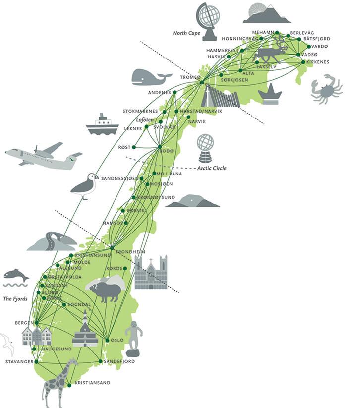 Widerøe map