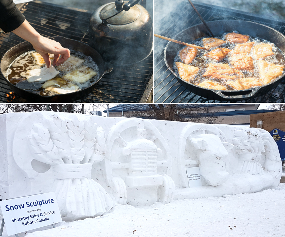 Gimli Ice Festival bannock and snow sculptures