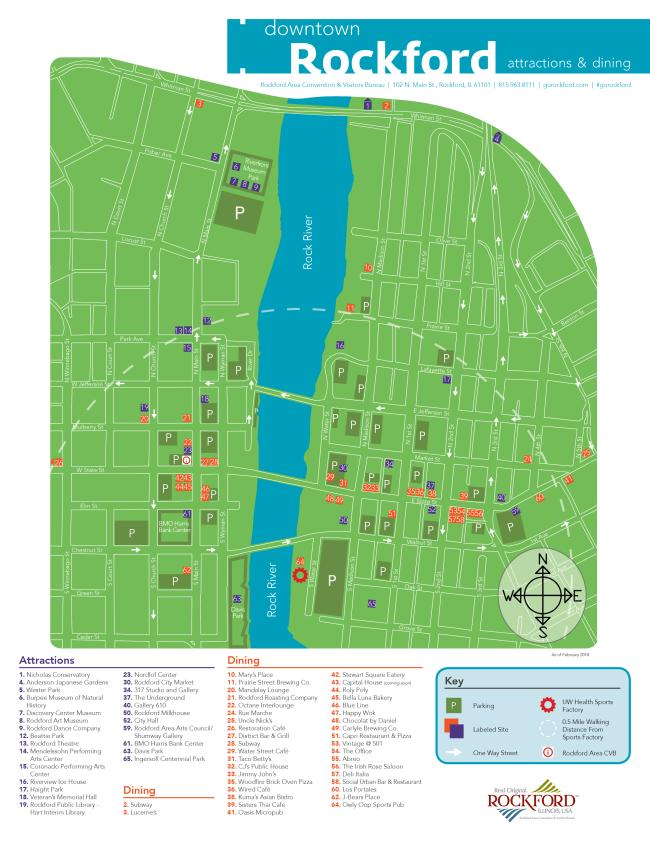 downtown map dining & attractions