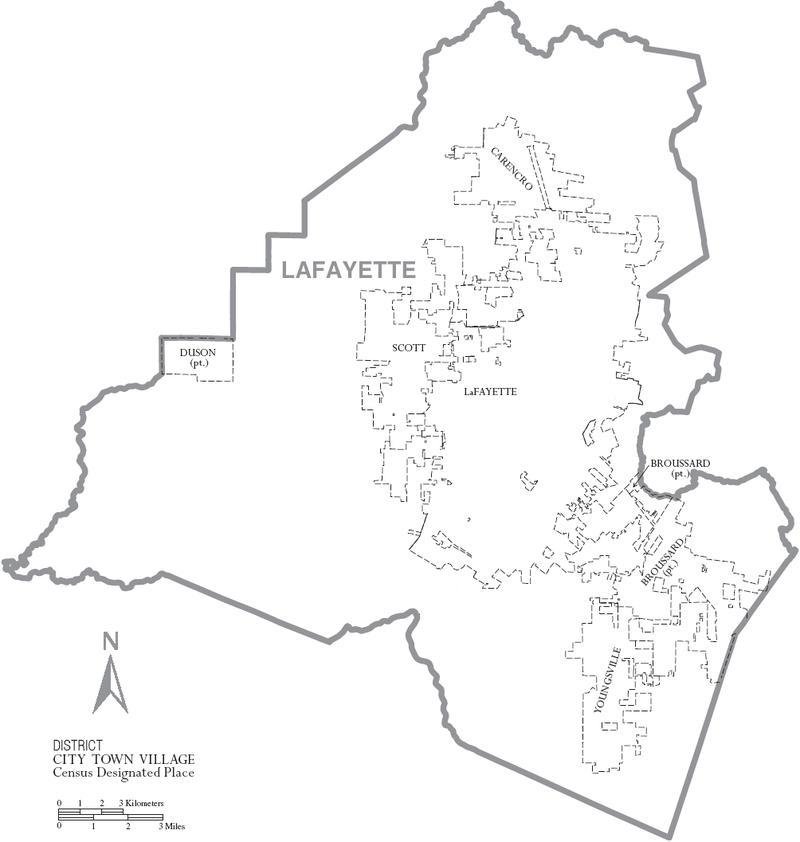 Map of Lafayette Parish, Louisiana With Municipal Labels