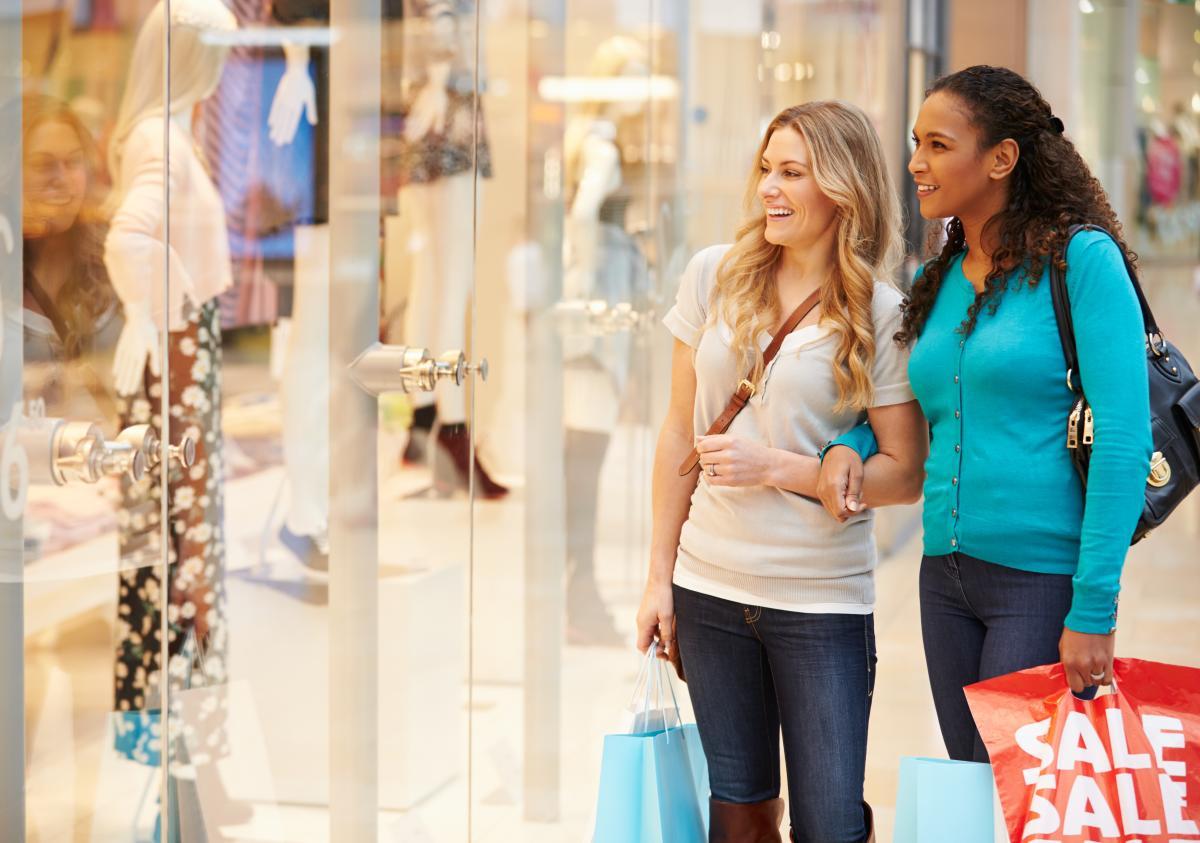 Women Window Shopping in a Mall