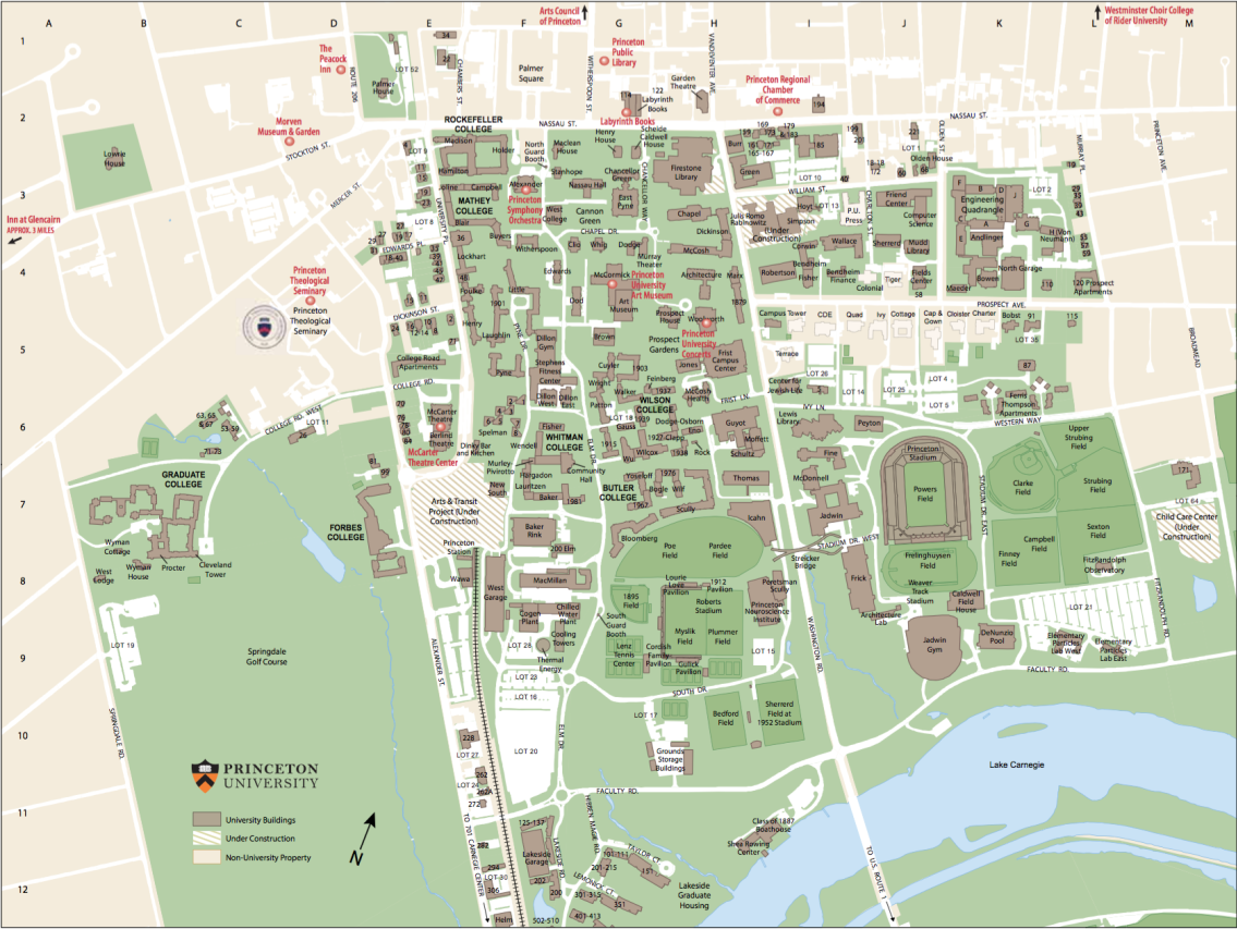 Princeton Campus Map Princeton NJ Maps | Attractions, Parking & Hotels Princeton Campus Map