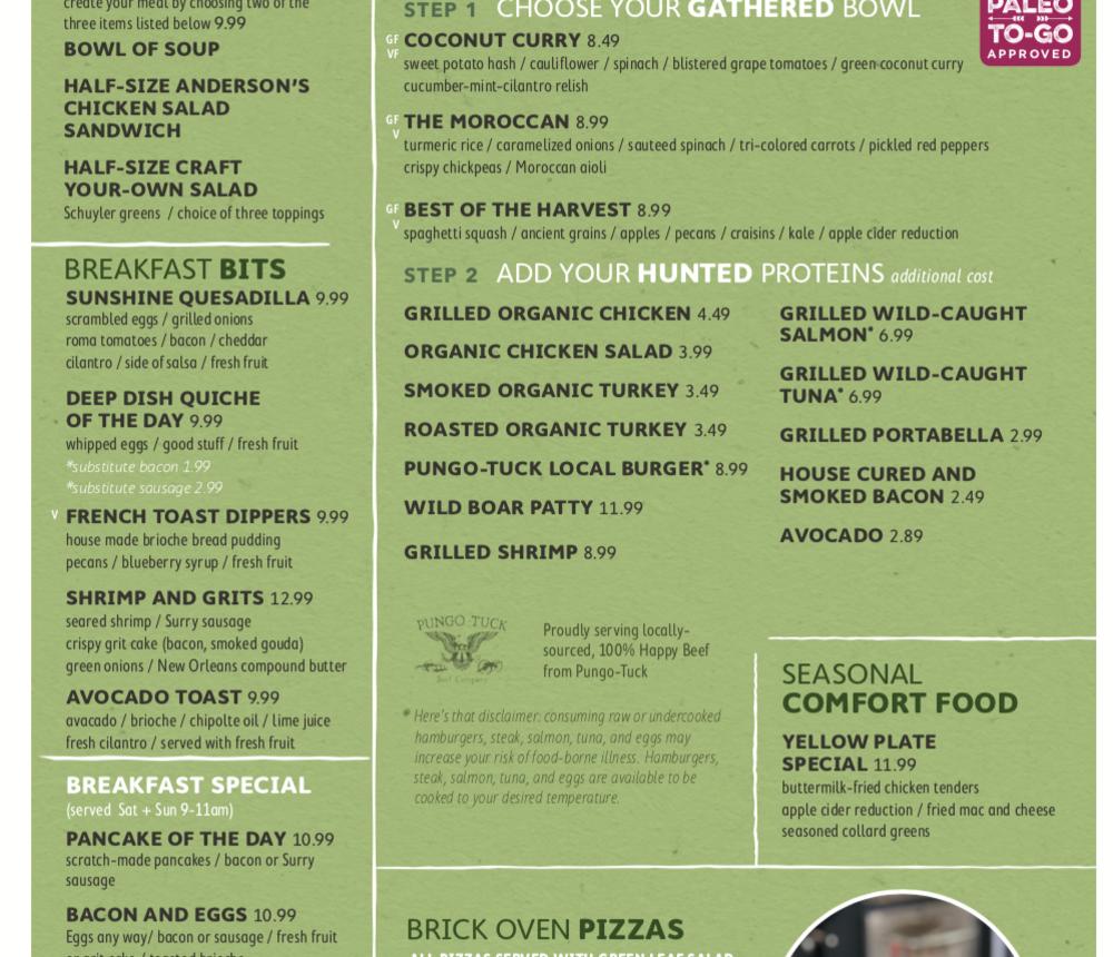 Sage Kitchen menu, page 3